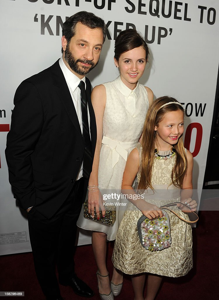 Director Judd Apatow, actress Maude Apatow and actress Iris Apatow attend the premiere of Universal Pictures' 'This Is 40' at Grauman's Chinese Theatre on December 12, 2012 in Hollywood, California.