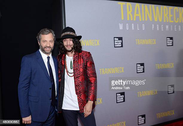 Director Judd Apatow and actor Ezra Miller attend the 'Trainwreck' premiere at Alice Tully Hall on July 14 2015 in New York City