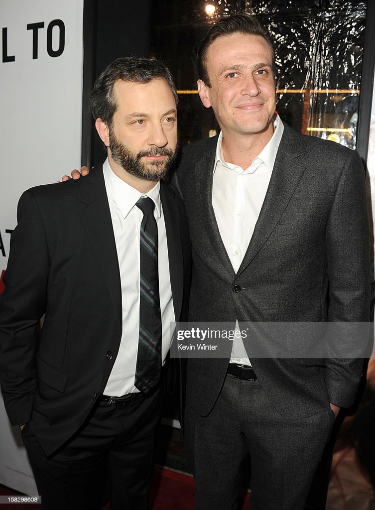 Director <a gi-track='captionPersonalityLinkClicked' href=/galleries/search?phrase=Judd+Apatow&family=editorial&specificpeople=854225 ng-click='$event.stopPropagation()'>Judd Apatow</a> and actor <a gi-track='captionPersonalityLinkClicked' href=/galleries/search?phrase=Jason+Segel&family=editorial&specificpeople=2220388 ng-click='$event.stopPropagation()'>Jason Segel</a> attend the premiere of Universal Pictures' 'This Is 40' at Grauman's Chinese Theatre on December 12, 2012 in Hollywood, California.
