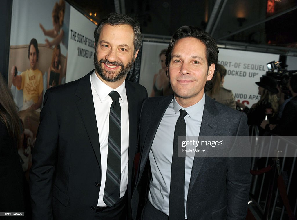 Director Judd Apatow and actor Paul Rudd attend the Premiere Of Universal Pictures' 'This Is 40' at Grauman's Chinese Theatre on December 12, 2012 in Hollywood, California.