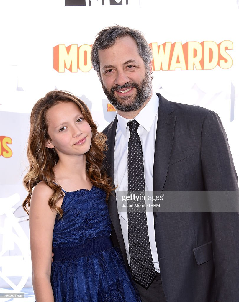 Director Judd Apatow and actress Iris Apatow attend The 2015 MTV Movie Awards at Nokia Theatre LA Live on April 12 2015 in Los Angeles California