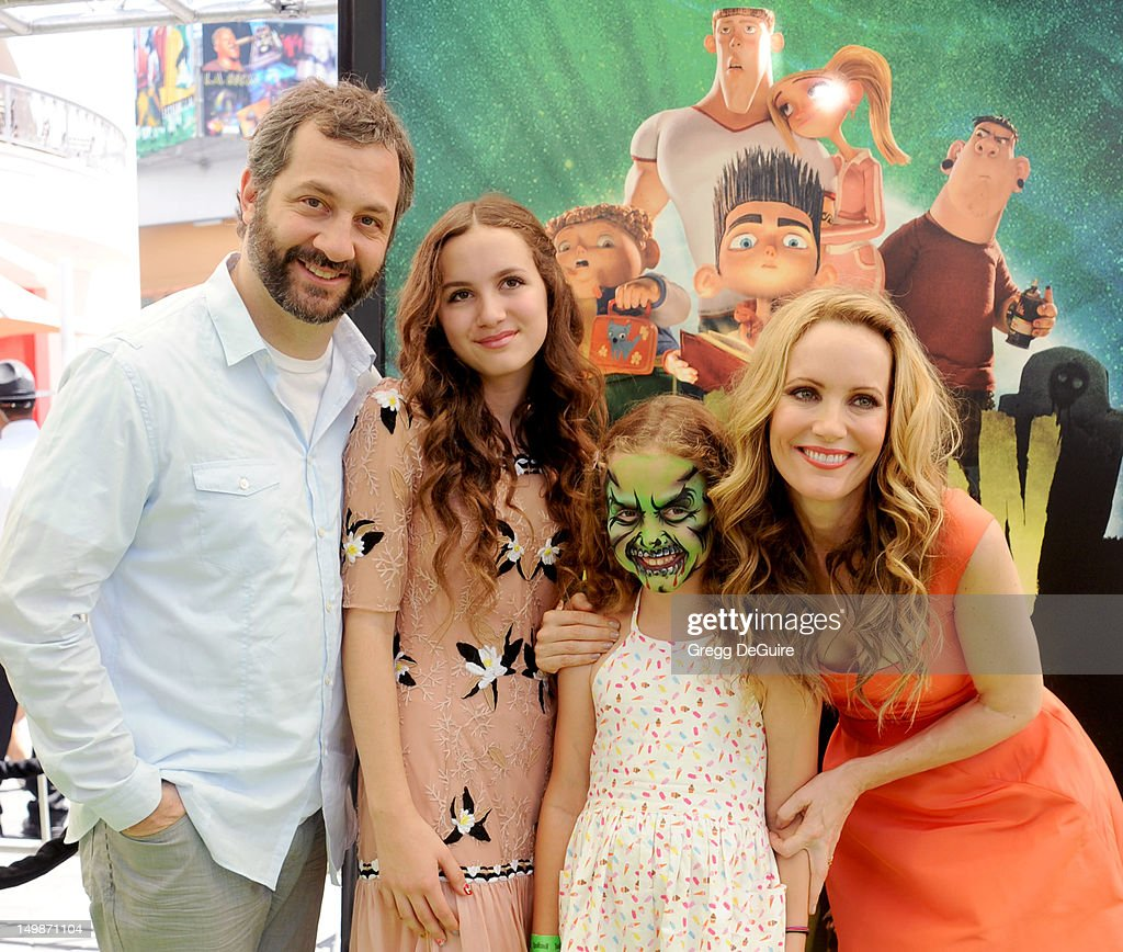 Director Judd Apatow daughter's Maude Apatow and Iris Apatow and actress Leslie Mann arrive at the Los Angeles premiere of 'ParaNorman' at AMC...