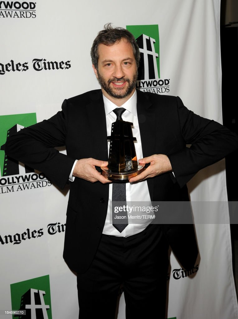 Director <a gi-track='captionPersonalityLinkClicked' href=/galleries/search?phrase=Judd+Apatow&family=editorial&specificpeople=854225 ng-click='$event.stopPropagation()'>Judd Apatow</a> poses with the Hollywood Comedy Award during the 16th Annual Hollywood Film Awards Gala presented by The Los Angeles Times held at The Beverly Hilton Hotel on October 22, 2012 in Beverly Hills, California.