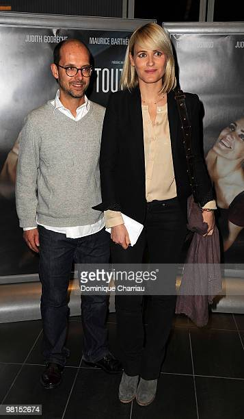 Director Judith Godreche and Maurice Barthelemy attend the Paris Premiere of 'Toutes le Filles Pleurent' at Mk2 Bibliotheque on March 30 2010 in...