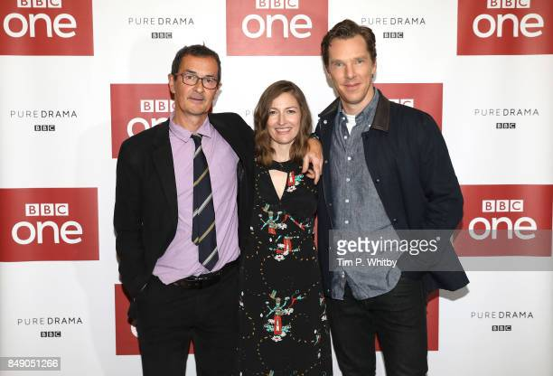 Director Julian Farino and actors Kelly Macdonald and Benedict Cumberbatch pose for a photo ahead of a preview screening of 'The Child In Time' at...