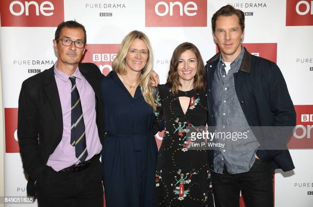 Director Julian Farino Presenter Edith Bowman and actors Kelly Macdonald and Benedict Cumberbatch pose for a photo ahead of a preview screening of...