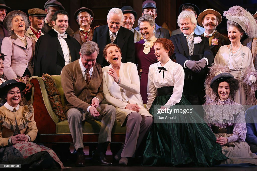 Director Julie Andrews (Centre front) shares a laugh amongst principal cast members during the My Fair Lady Production Media Call at Sydney Opera House on September 1, 2016 in Sydney, Australia.