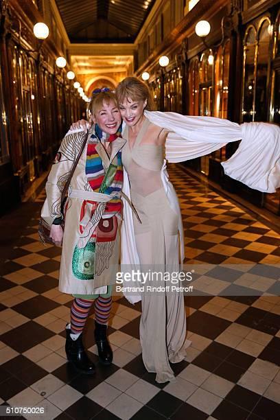 Director Julie Depardieu and Arielle Dombasle attend Arielle Dombasle presents her Perfume 'Le secret d'Arielle' at Galerie Pierre Passebon on...