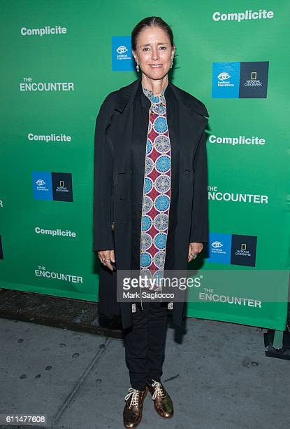 Director Julie Taymor attends 'The Encounter' Opening Night at the John Golden Theatre on September 29 2016 in New York City