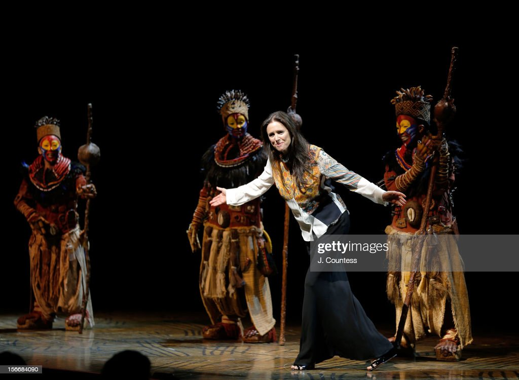 Director <a gi-track='captionPersonalityLinkClicked' href=/galleries/search?phrase=Julie+Taymor&family=editorial&specificpeople=227924 ng-click='$event.stopPropagation()'>Julie Taymor</a> joins the cast to take a bow during 'The Lion King' Broadway 15th Anniversary Celebration at Minskoff Theatre on November 18, 2012 in New York City.