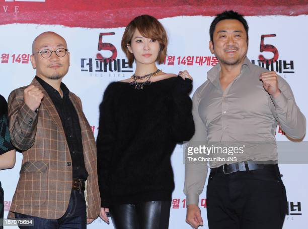 Director Jung YeonSik Kim SunA and Ma DongSeok attend the 'The Five' press conference at Wangsimni CGV on November 5 2013 in Seoul South Korea