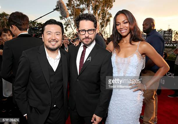 Director Justin Lin producer JJ Abrams and actress Zoe Saldana attend the premiere of Paramount Pictures' 'Star Trek Beyond' at Embarcadero Marina...