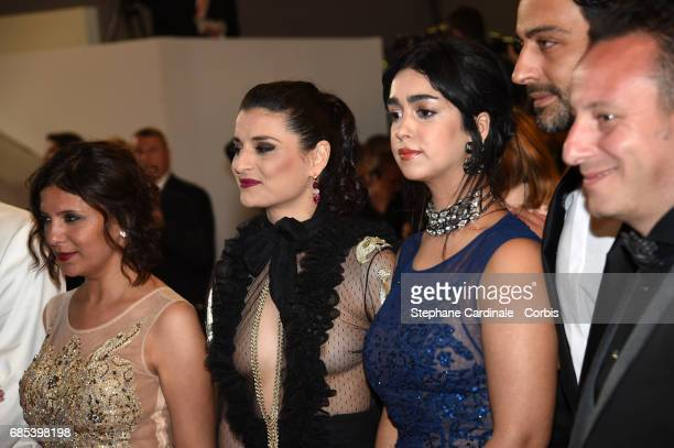 Director Kaouther Ben Hania Actors Anissa Daoud Mariam Al Ferjani Ghanem Zrelli and producer Habib Attia from the movie 'Alaka Kaf Ifrit ' attend the...