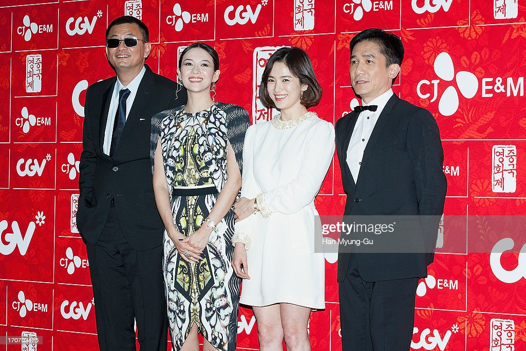 Director Karwai Wong, actors Zhang Ziyi, Tony Leung Chiu Wai and <a gi-track='captionPersonalityLinkClicked' href=/galleries/search?phrase=Song+Hye-Kyo&family=editorial&specificpeople=4238502 ng-click='$event.stopPropagation()'>Song Hye-Kyo</a> arrive during the 2013 Chinese Film Festival opening ceremony at Yeouido CGV on June 16, 2013 in Seoul, South Korea. The festival will showcases 11 films and runs from June 16-20 in South Korea.