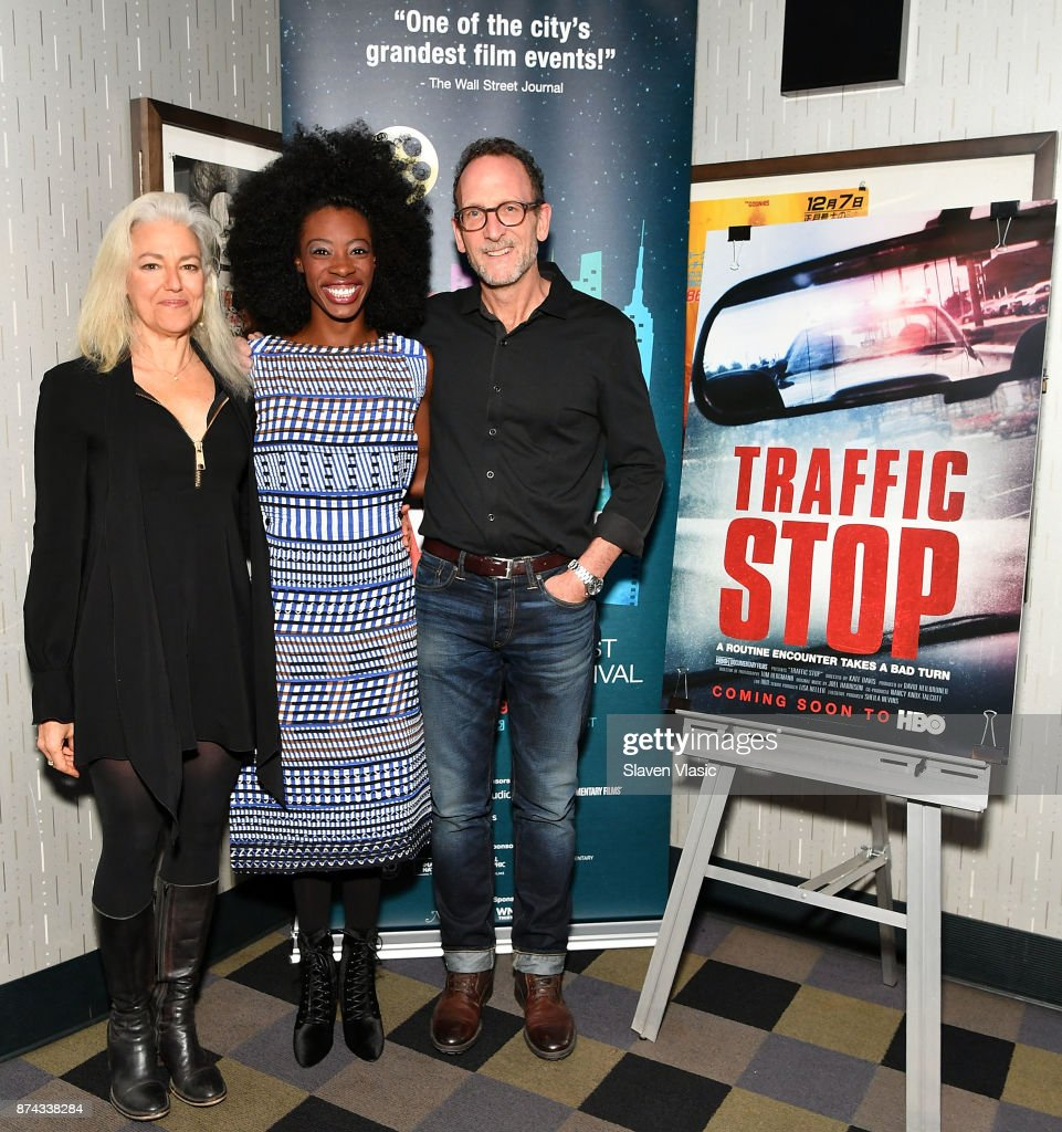 Director Kate Davis, subject of documentary Breaion King and producer David Heilbroner attend DOC NYC Premiere of the HBO documentary film 'Traffic Stop' at IFC Center on November 14, 2017 in New York City.