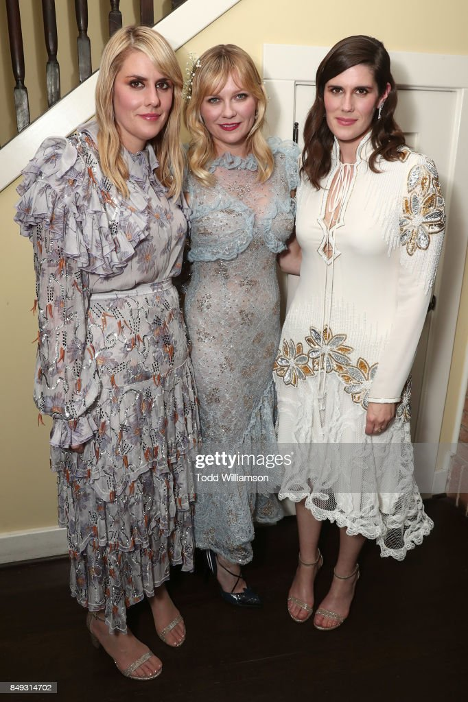 Director Kate Mulleavy, Kirsten Dunst and Director Laura Mulleavy attend the premiere Of A24's 'Woodshock' at ArcLight Cinemas on September 18, 2017 in Hollywood, California.