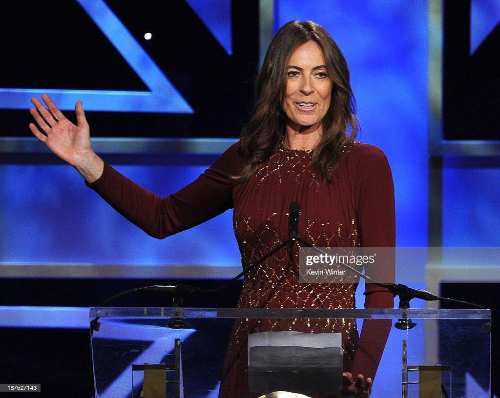 Director Kathryn Bigelow accepts the John Schlesinger Britannia Award for Excellence in Directing at the 2013 BAFTA LA Jaguar Britannia Awards...