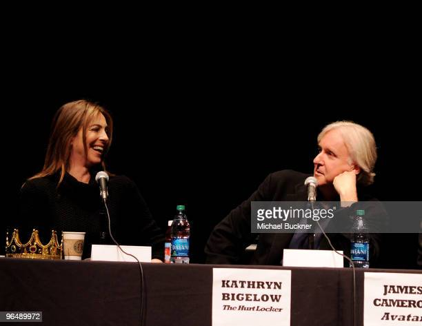 Director Kathryn Bigelow and director James Cameron speak at the 'Directors on Directing' panel at the 25th Annual Santa Barbara International Film...