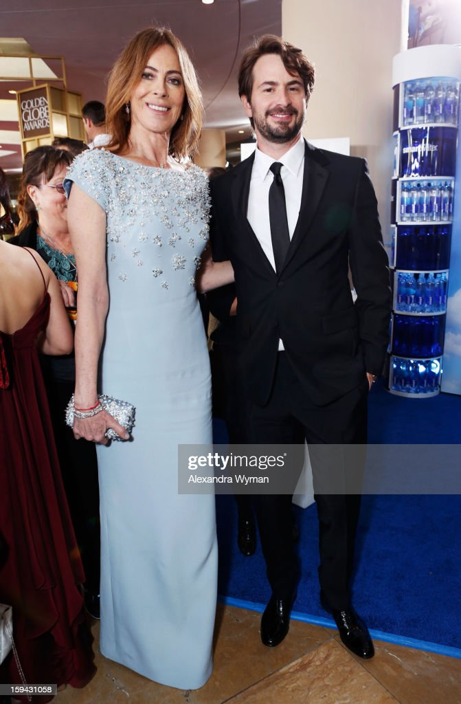 Director Kathryn Bigelow (L) and screenwriter Mark Boal arrive at the 70th Annual Golden Globe Awards held at The Beverly Hilton Hotel on January 13, 2013 in Beverly Hills, California.