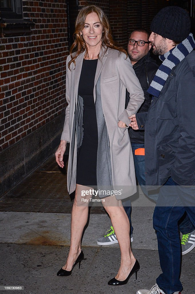 Director Kathryn Bigelow enters the 'Late Show With David Letterman' taping at the Ed Sullivan Theater on January 9, 2013 in New York City.
