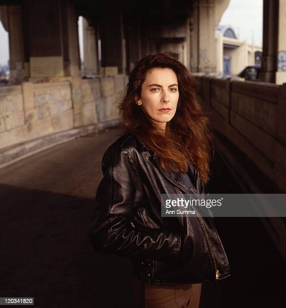 Director Kathryn Bigelow poses for a portrait session in the LA River and under the 6th St bridge on January 1 1989 in Los Angeles California