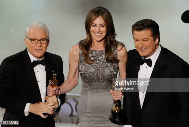 Director Kathryn Bigelow winner of Best Director award for 'The Hurt Locker' with cohosts Steve Martin and Alec Baldwin onstage during the 82nd...