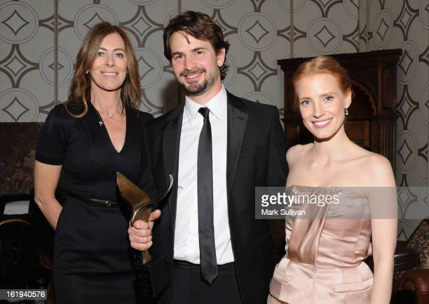 Director Kathryn Bigelow writer Mark Boal and actress Jessica Chastain in the 2013 Writers Guild Awards Backstage Creations Celebrity Retreat on...