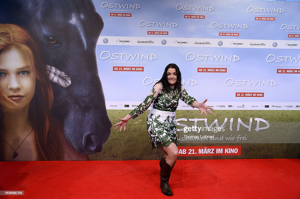 Director Katja von Garnier pose on the red carpet for the premiere of the film 'Ostwind' on March 17, 2013 in Frankfurt am Main, Germany. The family film portrays the friendship between the young Mika to the wild and shy stallion 'Ostwind' (east wind).