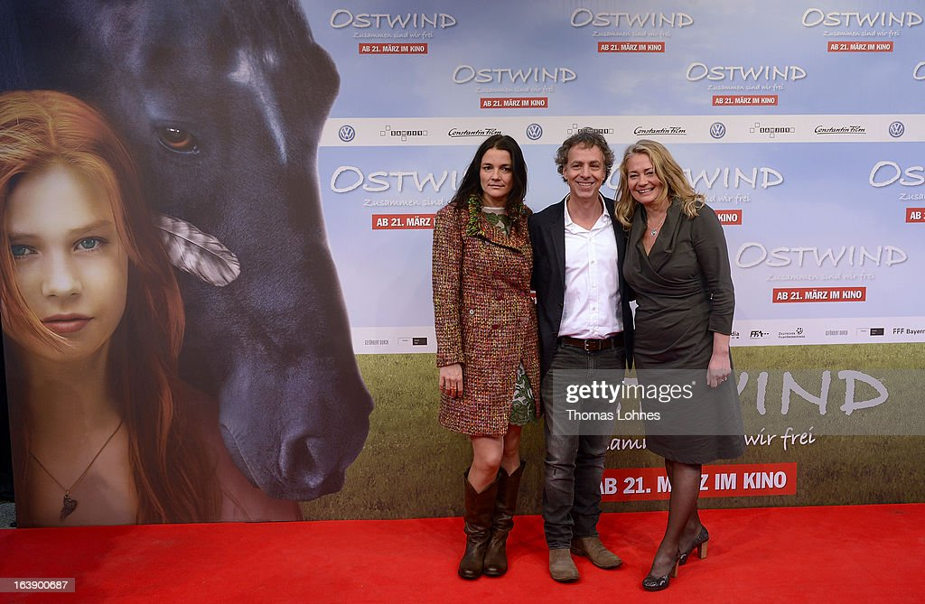Director Katja von Garnier, producer Andreas Ulmke-Smeaton and producer Ewa Karlstroem attend the premiere of the film 'Ostwind' on March 17, 2013 in Frankfurt am Main, Germany. The family film portrays the friendship between the young Mika and the wild and shy stallion 'Ostwind' (east wind).