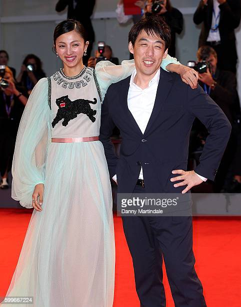 Director Kei Ishikawa and actress Hikari Mitsushima attends the premiere of 'The Bad Batch' during the 73rd Venice Film Festival at Sala Grande on...