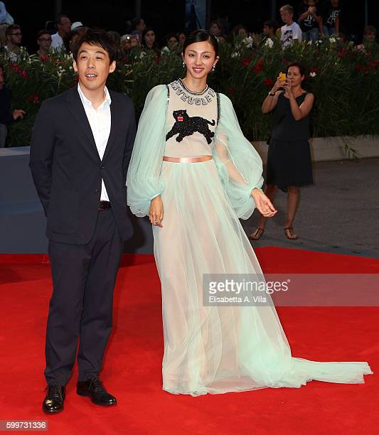 Director Kei Ishikawa and actress Hikari Mitsushima of the cast of 'Traces Of Sin' attend the premiere of 'The Bad Batch' during the 73rd Venice Film...
