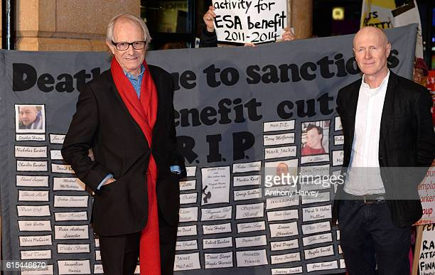 Director Ken Loach and Paul Laverty attend the 'I Daniel Blake' people's premiere at Vue West End on October 18 2016 in London England