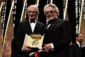 Director Ken Loach poses with director and President of the Jury George Miller after being awarded the Palme d'Or for the movie 'I Daniel Blake'...