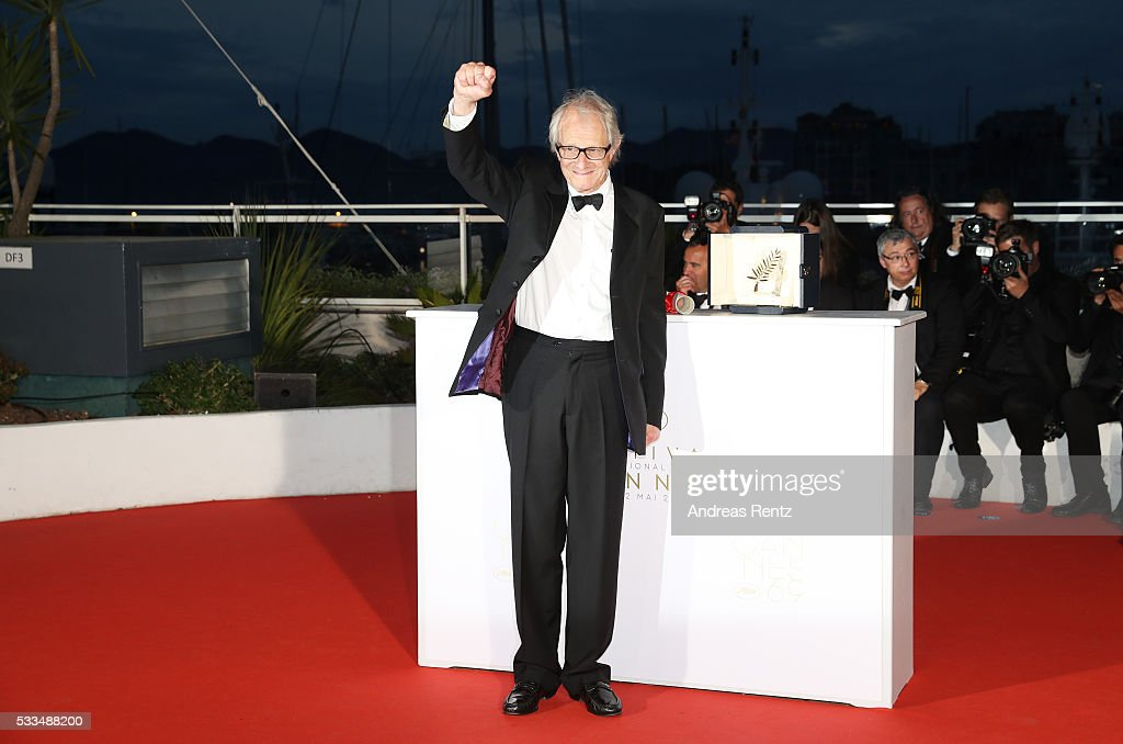 Director <a gi-track='captionPersonalityLinkClicked' href=/galleries/search?phrase=Ken+Loach&family=editorial&specificpeople=233467 ng-click='$event.stopPropagation()'>Ken Loach</a> poses with The Palme d'Or for the movie 'I,Daniel Blake' at the Palme D'Or Winners Photocal during the 69th annual Cannes Film Festival at the Palais des Festivals on May 22, 2016 in Cannes, France.