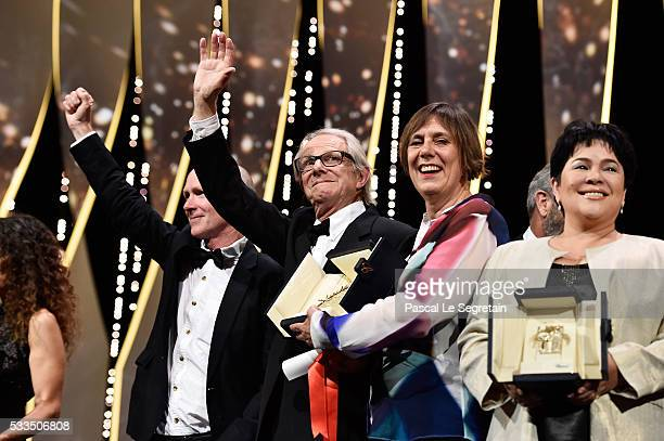 Director Ken Loach producer Rebecca O'Brien and actress Jaclyn Rose pose after being awarded during the Closing Ceremony at the annual 69th Cannes...