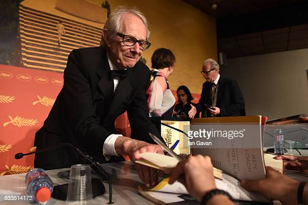 "Director Ken Loach winner of The Palme d'Or for the film ""IDaniel Blake"" attends the Palme D'Or Winner Press Conference during the 69th annual Cannes..."