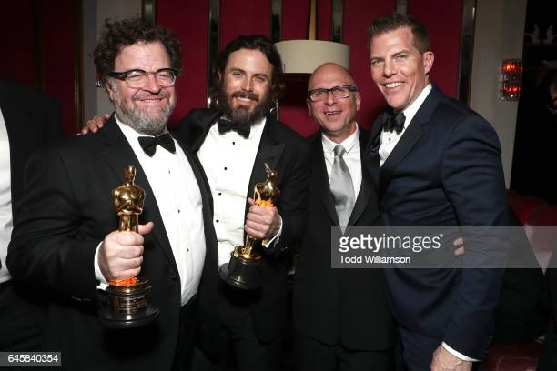 Director Kenneth Lonergan actor Casey Affleck producer Bob Berney and producer Kevin Walsh attend the Amazon Studios Oscar Celebration at Delilah on...