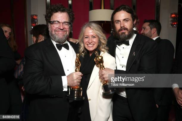 Director Kenneth Lonergan publicist Mara Buxbaum and actor Casey Affleck attend the Amazon Studios Oscar Celebration at Delilah on February 26 2017...