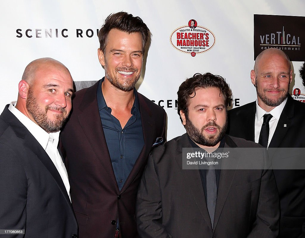 Director Kevin Goetz, actors <a gi-track='captionPersonalityLinkClicked' href=/galleries/search?phrase=Josh+Duhamel&family=editorial&specificpeople=208740 ng-click='$event.stopPropagation()'>Josh Duhamel</a> and <a gi-track='captionPersonalityLinkClicked' href=/galleries/search?phrase=Dan+Fogler&family=editorial&specificpeople=2236012 ng-click='$event.stopPropagation()'>Dan Fogler</a> and director Michael Goetz attend the premiere of Vertical Entertainment's 'Scenic Route' at the Chinese 6 Theaters Hollywood on August 20, 2013 in Hollywood, California.