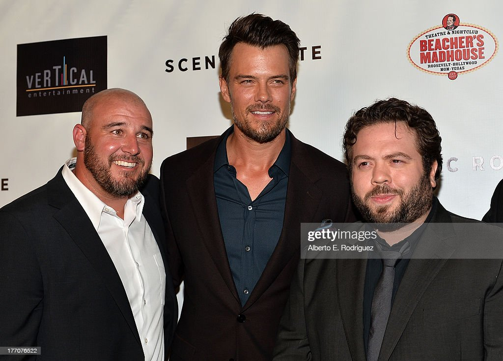 Director Kevin Goetz, actors <a gi-track='captionPersonalityLinkClicked' href=/galleries/search?phrase=Josh+Duhamel&family=editorial&specificpeople=208740 ng-click='$event.stopPropagation()'>Josh Duhamel</a>, and <a gi-track='captionPersonalityLinkClicked' href=/galleries/search?phrase=Dan+Fogler&family=editorial&specificpeople=2236012 ng-click='$event.stopPropagation()'>Dan Fogler</a> arrive at the premiere of Vertical Entertainment's 'Scenic Route' at Chinese 6 Theater- Hollywood on August 20, 2013 in Hollywood, California.