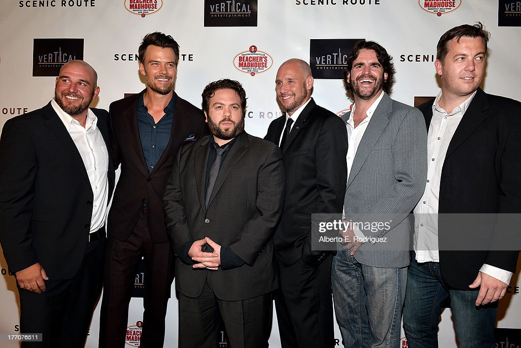 Director Kevin Goetz, actors <a gi-track='captionPersonalityLinkClicked' href=/galleries/search?phrase=Josh+Duhamel&family=editorial&specificpeople=208740 ng-click='$event.stopPropagation()'>Josh Duhamel</a>, <a gi-track='captionPersonalityLinkClicked' href=/galleries/search?phrase=Dan+Fogler&family=editorial&specificpeople=2236012 ng-click='$event.stopPropagation()'>Dan Fogler</a>, director Michael Goetz, producers Brion Hambel and Luke Rivett arrive at the premiere of Vertical Entertainment's 'Scenic Route' at Chinese 6 Theater- Hollywood on August 20, 2013 in Hollywood, California.