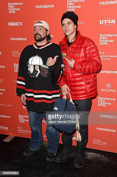 Director Kevin Smith and actor Jason Mewes attend the 'Yoga Hosers' Premiere during the 2016 Sundance Film Festival at Library Center Theater on...