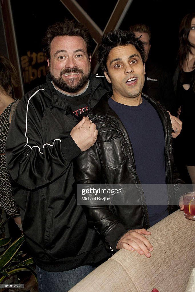 Director <a gi-track='captionPersonalityLinkClicked' href=/galleries/search?phrase=Kevin+Smith+-+Film+Director&family=editorial&specificpeople=5102286 ng-click='$event.stopPropagation()'>Kevin Smith</a> and Ray Johnson attend The Future Of Online Television at What's Trending Studios on February 15, 2013 in Los Angeles, California.