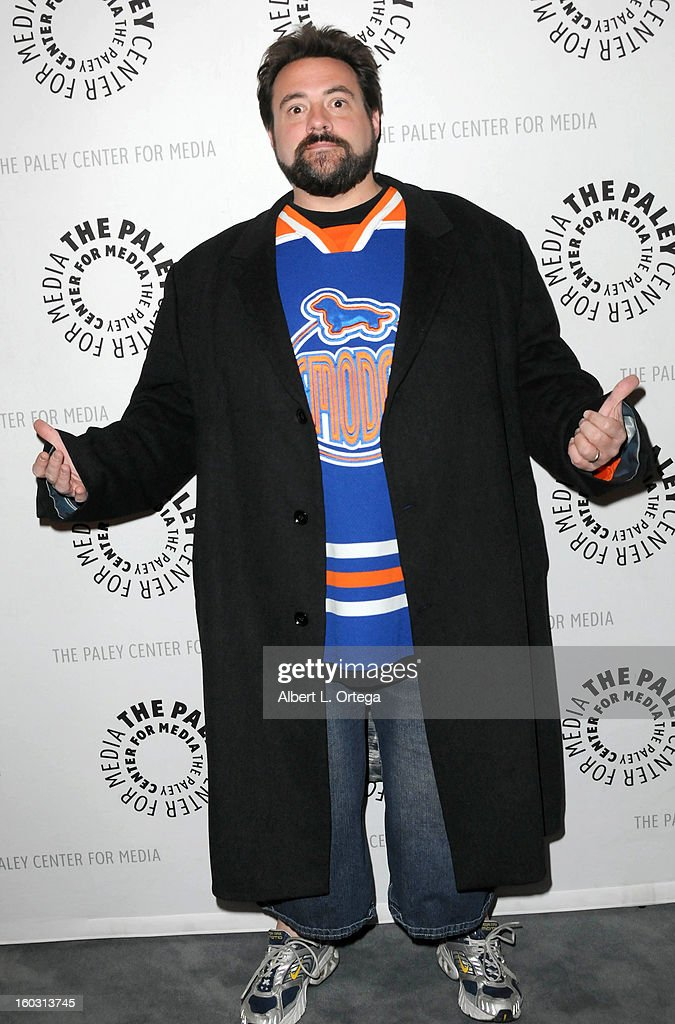 Director <a gi-track='captionPersonalityLinkClicked' href=/galleries/search?phrase=Kevin+Smith+-+Regista&family=editorial&specificpeople=5102286 ng-click='$event.stopPropagation()'>Kevin Smith</a> arrives for The Paley Center for Media & Warner Bros. Home Entertainment Premiere of 'Batman: The Dark Knight Returns, Part 2' held at The Paley Center for Media on January 28, 2013 in Beverly Hills, California.