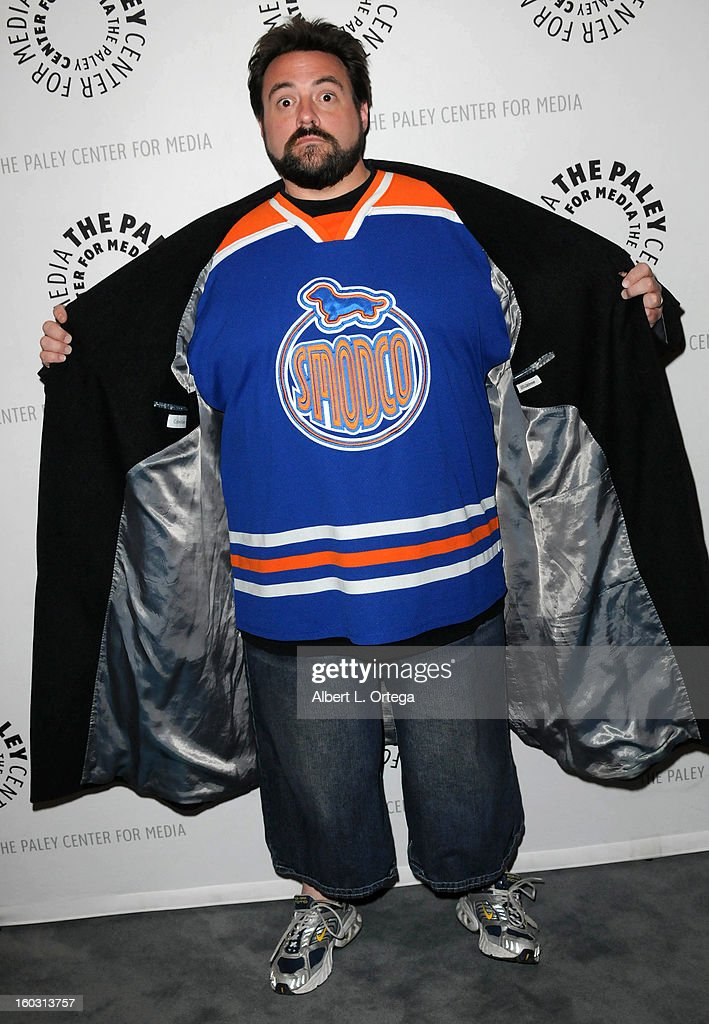 Director Kevin Smith arrives for The Paley Center for Media & Warner Bros. Home Entertainment Premiere of 'Batman: The Dark Knight Returns, Part 2' held at The Paley Center for Media on January 28, 2013 in Beverly Hills, California.