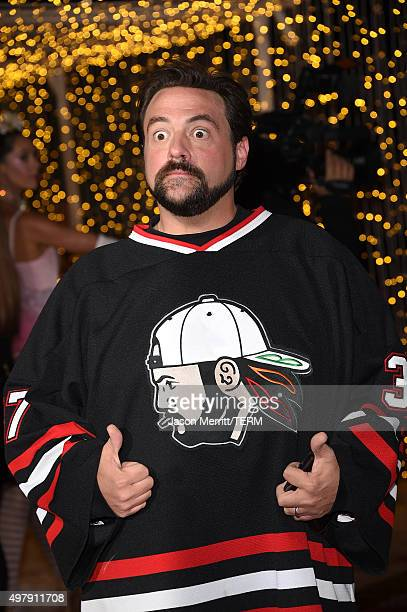 Director Kevin Smith arrives for the premiere of Columbia Pictures' 'The Night Before' held at The Theatre At The Ace Hotel on November 18 2015 in...