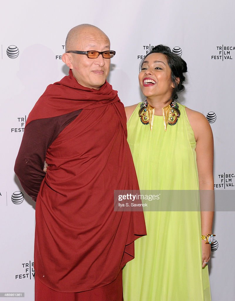 Director Khyentse Norbu (L) and actress Shahana Goswami attend the 'Vara: Blessing' Premiere during the 2014 Tribeca Film Festival at Chelsea Bow Tie Cinemas on April 21, 2014 in New York City.