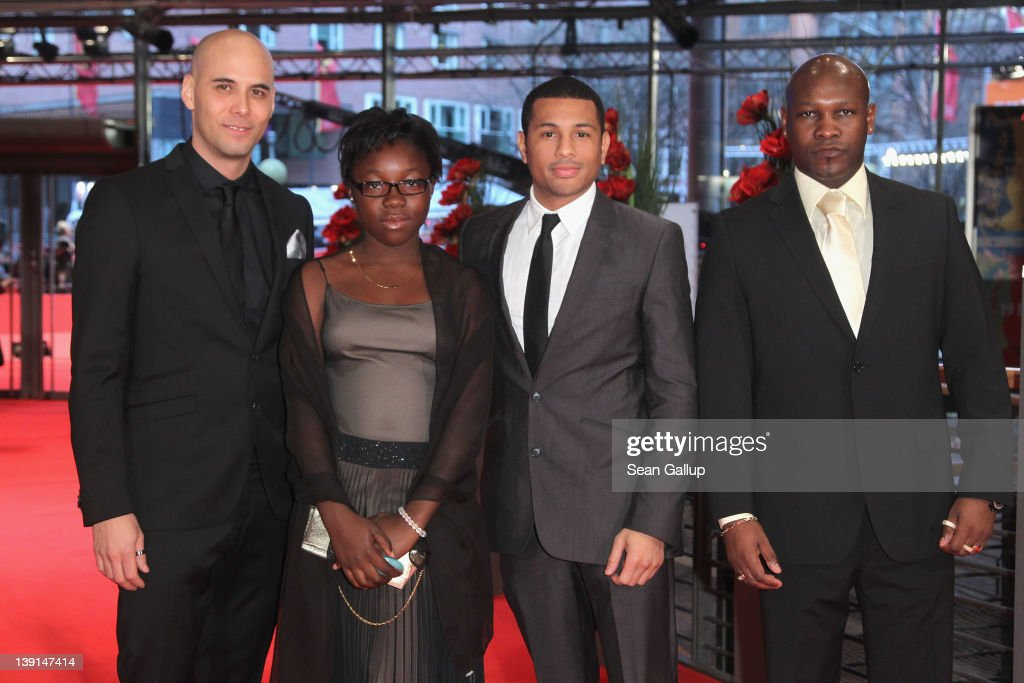 Director Kim Nguyen and actors Rachel Mwanza Mizinga Mwinga and Alain Bastien attends the 'Rebelle' Premiere during day nine of the 62nd Berlin...