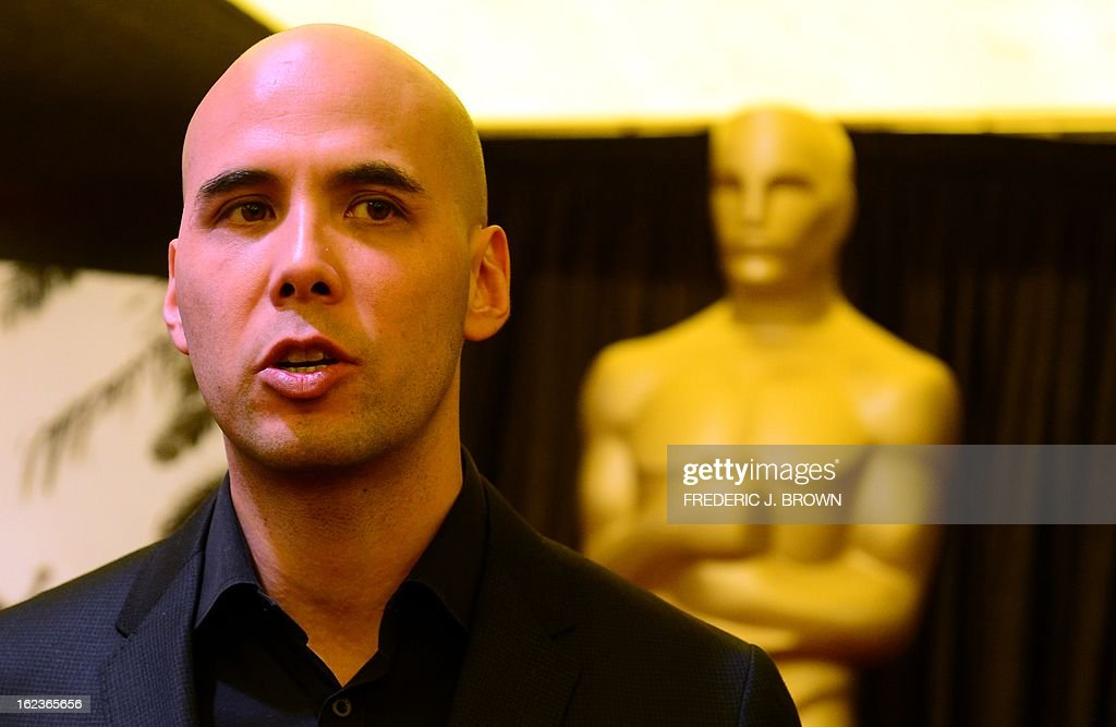 Director Kim Nguyen from the Canadian film 'War Witch' is interviewed by the media in Hollywood on February 22 2013 in California where directors and...