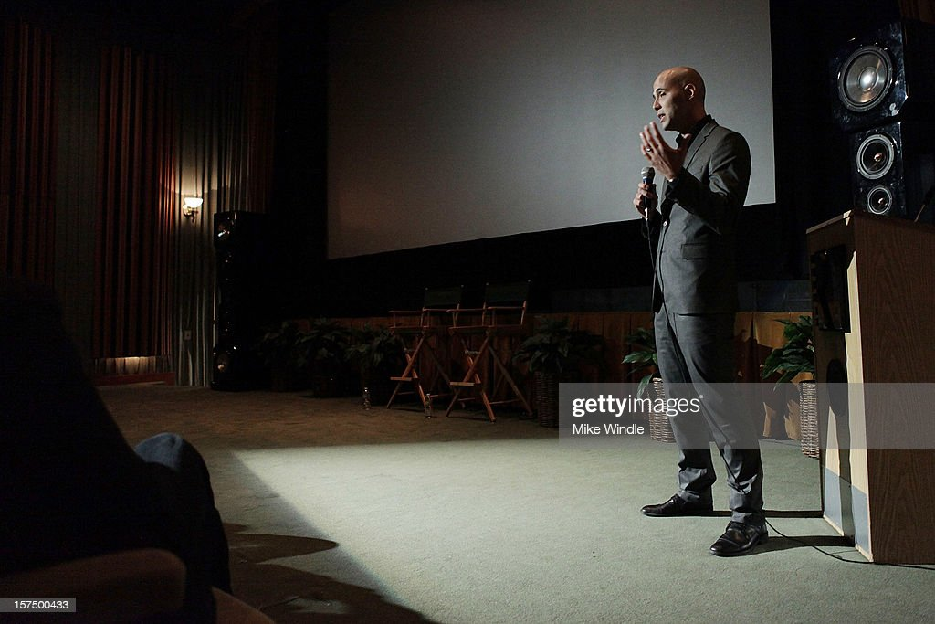 Director Kim Nguyen speaks on stage during Tribeca Film and Telefilm Canada host a special screening for Kim Nguyen's WAR WITCH Official Entry for the 85th Academy Awards - Foreign Language on December 3, 2012 in Los Angeles, California.